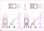 ベビーカー(女性 赤ちゃん) 点景・計画用 DXF