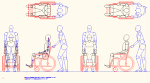 人物モデル化 介助人有り車椅子用 DXF