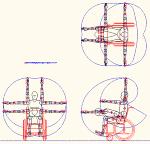 人物モデル化 車椅子での腕の動作範囲表示 DXF