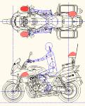 CB1300P 白バイ(平面 左側面) DXF