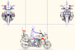CB1300P 白バイ(右側面 正面 後面) DXF