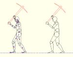 人物モデル化 ツルハシで作業をする男性 MPZ