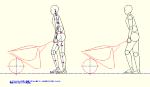 人物モデル化 一輪車 3才で作業をする男性 DXF