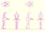 人物モデル化 包丁で料理をする女性 DXF