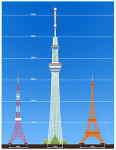スカイツリーと東京タワー&エッフェル塔との高さ比較