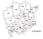 岡山県の白地図