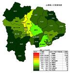 山梨県の人口密度