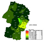 山形県の人口密度