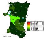 秋田県の人口密度