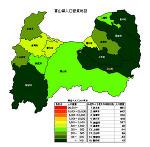 富山県の人口密度