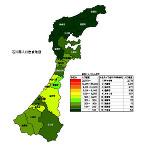 石川県の人口密度