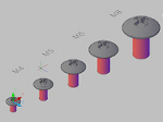 トラス小ねじの3Dデータ dwg