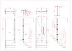 階段場に遮音の為の折れ戸を(スライドヒンジ+フラッシュ丁番)取付、軌跡図有