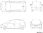 【Opel】Meriva 車CADデータ 2面図
