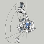 ZX75US-5B 低頭キャブ ショートリーチ仕様(作業姿勢図)
